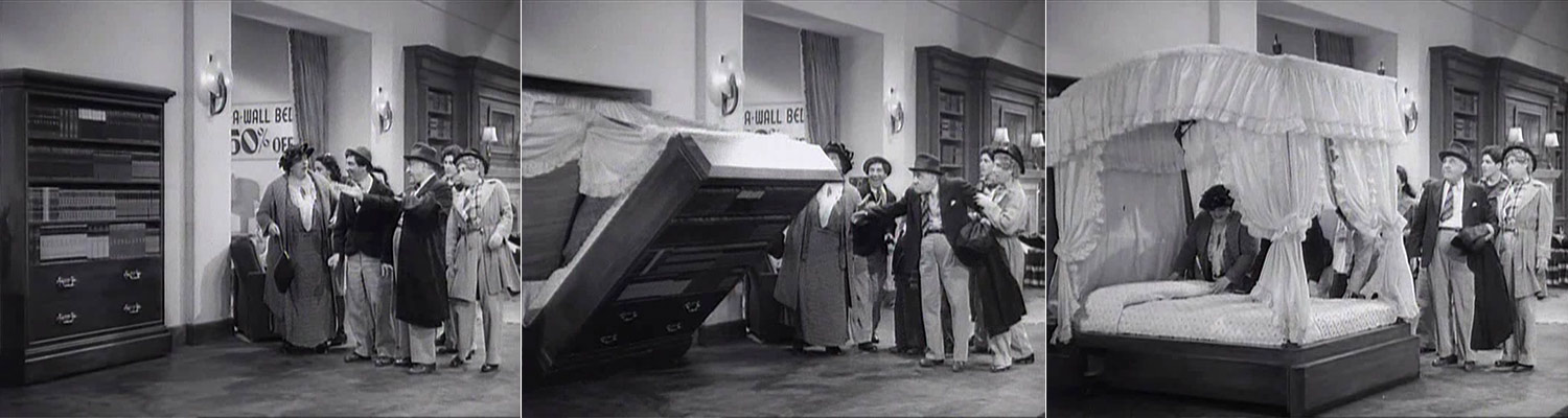 Told by Design - Marx Brothers - The Big Store - Bookcase turning into bed