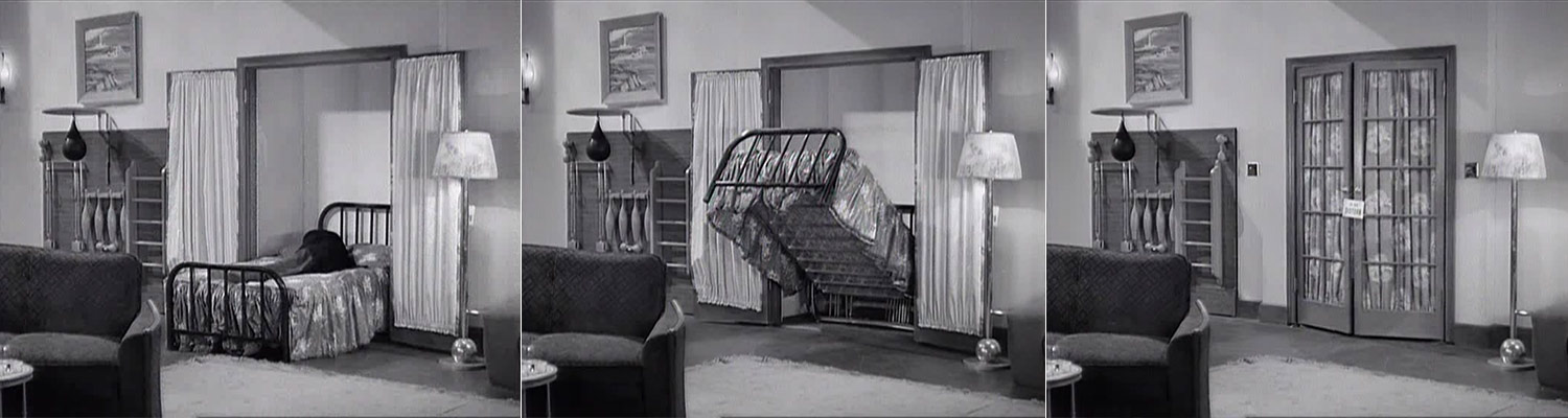 "Told by Design - Marx Brothers - The Big Store - Groucho engulfed by a ""Do not disturb door"" folding bed"