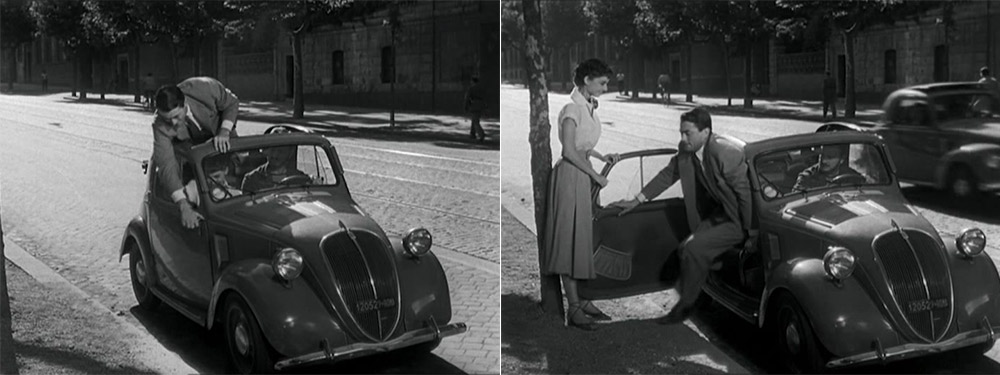 "William Wyler's ""Roman Holiday"" - Gregory Peck and Audrey Hepburn stepping out of a Fiat Topolino 500 B convertible car"